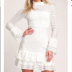 Lulu's White Ruffled Long Sleeve Dress